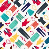 Fashion women seamless pattern with Clothes and accessories Royalty Free Stock Photography