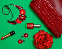 Fashion women set of red accessories on a green background flat lay top view Stock Photo