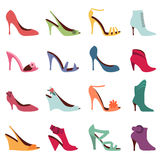 Fashion women shoes. Vector set of 16 different women shoes Royalty Free Stock Photos