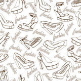 Fashion women shoes seamless pattern.Outline Royalty Free Stock Images
