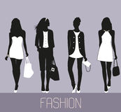 Fashion women shopping. Fashion women silhouettes collection. Vector royalty free illustration