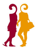 Fashion women silhouettes, art . Royalty Free Stock Images