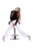 Fashion women sit on the chair on white Royalty Free Stock Photography