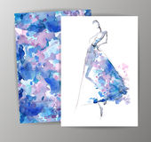 Fashion women in sketch style. Greeting card  Stock Photography
