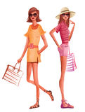Fashion women in summer dress ready for the beach Royalty Free Stock Photo