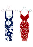 Fashion for women two dress with a floral pattern Royalty Free Stock Photo