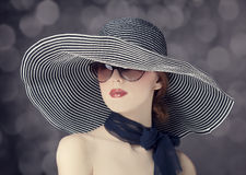 Fashion women in wide hat Royalty Free Stock Images