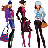 Fashion women in winter clothes stock illustration