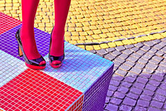 Fashion womens sexy legs, heels. Vivid geometry, people  Royalty Free Stock Image