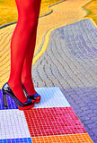 Fashion womens sexy legs, heels. Vivid geometry, people Royalty Free Stock Images
