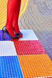 Fashion womens sexy legs, heels. Vivid geometry, people  Royalty Free Stock Photos