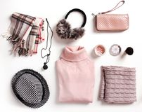 Winter clothes set.Womens clothing collage.Outfit. Fashion womens winter clothes set. Soft woolen female outfit clothing collage Royalty Free Stock Images
