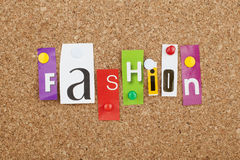 Fashion Word. Single letters on cork bulletin board Royalty Free Stock Photo