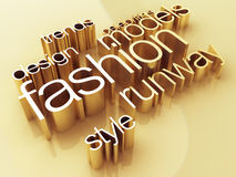 Fashion world. Fashion concept, a gold shiny metal, 3D rendering Royalty Free Stock Photos