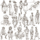 Fashion between the years 1870-1970, drawings. FASHION between the years 1870-1970. Collection of an hand drawn full sized illustrations (originals). Drawings on Royalty Free Stock Images