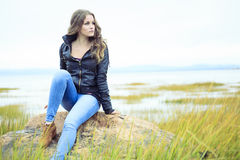 Fashion 20 years old leather coat Royalty Free Stock Photos