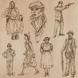 Fashion between the years 1870-1970, vectors. FASHION between the years 1870-1970. Collection of an hand drawn illustrations (vectors - pack no.2). Each drawing Royalty Free Stock Photos