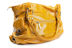 Fashion yellow bag. Isolated on a white background Royalty Free Stock Photography