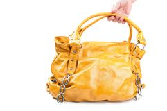 Fashion yellow bag Stock Images