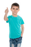 Fashion young boy holds his thumb up Royalty Free Stock Image