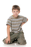 Fashion young boy on the white background Stock Photos