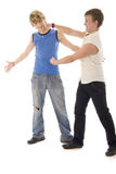 Fashion Young Boys Duet Fight Royalty Free Stock Photos