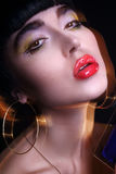 Fashion young brunette model photo editorial, model posing, mixed lightning, long speed Royalty Free Stock Image