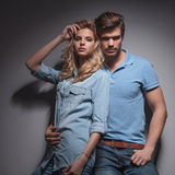 Fashion young couple posing for the camera Stock Photos
