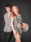 Fashion young couple, studio shot on black Royalty Free Stock Image