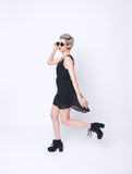 Fashion young female model with short hairstyle stock photo