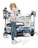 Fashion young girl drinking coffee in the street of old city. vector illustration