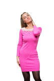 Fashion young girl stay straight in woolen pink Royalty Free Stock Images