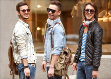 Fashion young guys go shopping Stock Photography