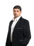 Fashion young man in black jacket Stock Photos