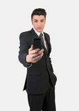 Fashion young man with mobile phone Royalty Free Stock Image