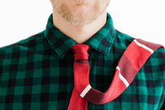 Fashion young man with red necktie Stock Photo