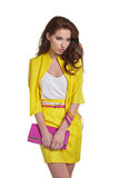 Fashion young model in yellow style Stock Image