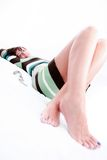 Fashion young woman lying. On her back royalty free stock photo