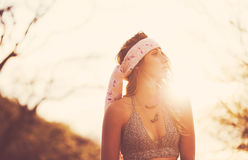 Fashion, Young Woman Outdoors at Sunset Royalty Free Stock Photo