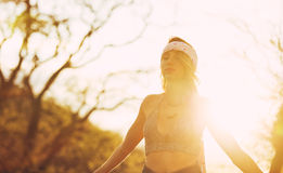 Fashion, Young Woman Outdoors at Sunset Stock Photo