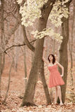 Fashion young woman in red dress relaxing in park Royalty Free Stock Photography