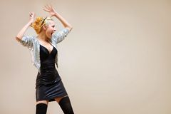 Fashion young woman screaming over background Royalty Free Stock Images
