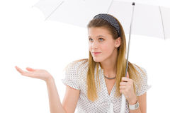 Fashion - young woman umbrella designer clothes Royalty Free Stock Photo
