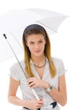 Fashion - young woman umbrella designer clothes Stock Photo