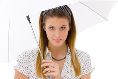 Fashion - young woman umbrella designer clothes Stock Photography