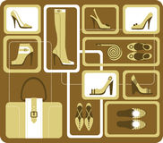 Fashionable accessories. Set of images of fashionable accessories Royalty Free Stock Photo