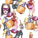 Fashionable accessories  glamour illustration. Clothes accessories set trendy vogue outfit. Aquarelle wildflower for background, texture, wrapper pattern Stock Image