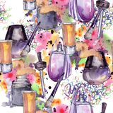 Fashionable accessories  glamour illustration. Clothes accessories set trendy vogue outfit. Aquarelle wildflower for background, texture, wrapper pattern Stock Images