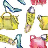 Fashionable accessories  glamour illustration. Clothes accessories set trendy vogue outfit. Aquarelle wildflower for background, texture, wrapper pattern Royalty Free Stock Photo