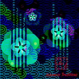Fashionable art card with bright traditional Japanese motive. stock illustration